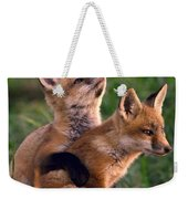 Fox Cub Buddies Weekender Tote Bag by William Jobes