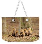 Fox Family Portrait Weekender Tote Bag