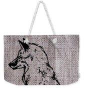Fox On Burlap  Weekender Tote Bag