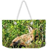 Red Fox Pup Hiding Weekender Tote Bag