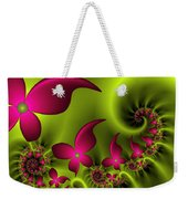 Fractal Fluorescent Fantasy Flowers Weekender Tote Bag