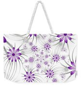 Fractal Purple Flowers Weekender Tote Bag