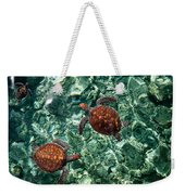 Fragile Underwater World. Sea Turtles In A Crystal Water. Maldives Weekender Tote Bag by Jenny Rainbow