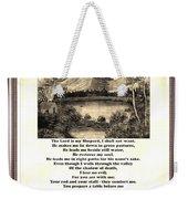 Framed Vintage 23rd Psalm Sepia Weekender Tote Bag