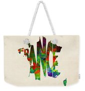 France Typographic Watercolor Map Weekender Tote Bag