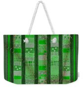 Frankensteins Quilt - Coin Quilt - Quilt Painting - Monster Green Patches Weekender Tote Bag