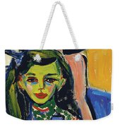 Franzi In Front Of Carved Chair Weekender Tote Bag