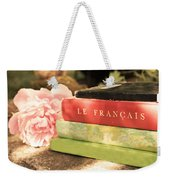 French Books And Peony Weekender Tote Bag