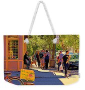 French Bread On Laurier Street Montreal Cafe Scene Sunny Corner With Vente De Garage Sign Weekender Tote Bag