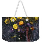 French Marigold Purple Daisies And Golden Sheaves Weekender Tote Bag