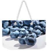 Fresh And Natural Blueberries Close Up On White Weekender Tote Bag