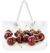 Fresh Cherries On White Weekender Tote Bag by Elena Elisseeva