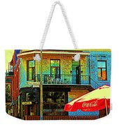 Friends On The Bench At Cartel Street Food Mexican Restaurant Rue Clark Art Of Montreal City Scene Weekender Tote Bag