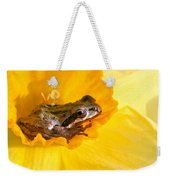 Frog And Daffodil Weekender Tote Bag by Jean Noren