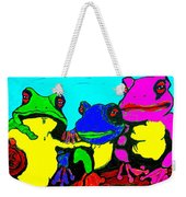 Frog Family Hanging Out On A Limb3 Weekender Tote Bag