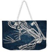 Frog Skeleton In Silver On Blue  Weekender Tote Bag