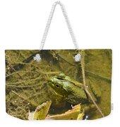 Frog Thinks He's Hidden Under A Twig Weekender Tote Bag
