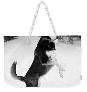 Frolicking In The Snow - Black And White Weekender Tote Bag by Carol Groenen