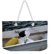 From Rockport Ma A Seagull Chilling Out In A Rowboat Weekender Tote Bag