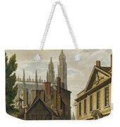 Front Of Trinity Hall, Cambridge Weekender Tote Bag by Augustus Charles Pugin