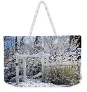Front Yard Of A House In Winter Weekender Tote Bag