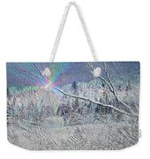 Frosty Window Distant Sun Weekender Tote Bag