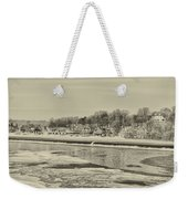 Frozen Boathouse Row In Sepia Weekender Tote Bag