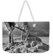 Frozen Grand Haven Lighthouse Black And White Weekender Tote Bag
