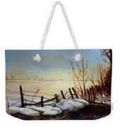 Frozen Lake Near Ste. Adele Weekender Tote Bag