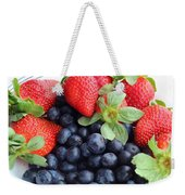 Fruit 2- Strawberries - Blueberries Weekender Tote Bag by Barbara Griffin