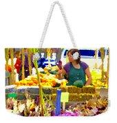 Fruit And Vegetable Vendor Roadside Food Stall Bazaars Grocery Market Scenes Carole Spandau Weekender Tote Bag