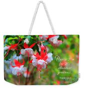 Fuchsia Blooms With Scripture Weekender Tote Bag