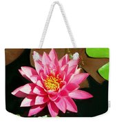 Fuchsia Pink Water Lilly Flower Floating In Pond Weekender Tote Bag