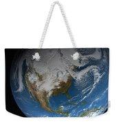 Ful Earth Showing Simulated Clouds Weekender Tote Bag by Stocktrek Images
