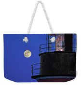 Full Moon And West Quoddy Head Lighthouse Beacon Weekender Tote Bag
