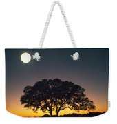 Full Moon Over Silhouetted Tree Weekender Tote Bag