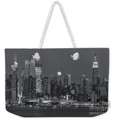 Full Moon Rising Over New York City IIi Weekender Tote Bag by Clarence Holmes