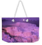 Full Moon Sets Over Minerva Springs On A Winter Morning Yellowstone National Park Weekender Tote Bag