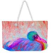 Funky Duck In Snowfall Weekender Tote Bag