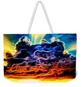 Funky Glowing Electrified Rainbow Clouds Abstract Weekender Tote Bag