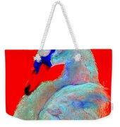 Funky Swan Blue On Red Weekender Tote Bag