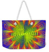 Futuristic Disc Blue Red And Yellow Fractal Flame Weekender Tote Bag