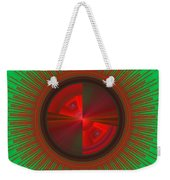 Futuristic Green And Red Tech Disc Fractal Flame Weekender Tote Bag