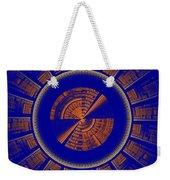 Futuristic Tech Disc Blue And Orange Fractal Flame Weekender Tote Bag