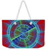 Futuristic Tech Disc Red And Blue Fractal Flame Weekender Tote Bag