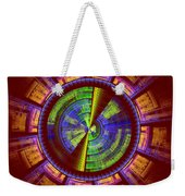 Futuristic Tech Disc Red Green And Yellow Fractal Flame Weekender Tote Bag