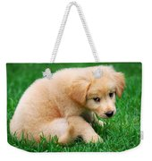 Fuzzy Golden Puppy Weekender Tote Bag by Christina Rollo