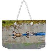 Gadwall Pair Swimming Together Weekender Tote Bag