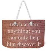 Galileo Quote Science Astronomy Math Physics Inspirational Words On Canvas Weekender Tote Bag