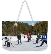 Game Of Ice Hockey On A Frozen Pond  Weekender Tote Bag